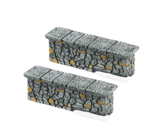 "Department 56 Village Accessory - ""Woodland Stone Wall"" - Set of 2"