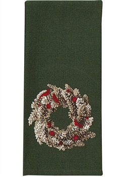 "Dish Towel - ""Pinecone Wreath Dish Towel"""