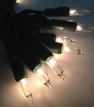 Mini Bulb String Lights - Warm White - Electric/Green Cord - Standard Grade Indoor - Set of 20