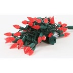 Faceted Christmas Lights - Red C6 LED - Electric/Green Cord - Set/50