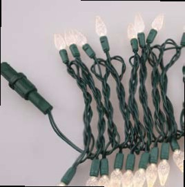 Faceted Christmas Lights - Warm White C6 LED - Electric/Green Cord - Set/50