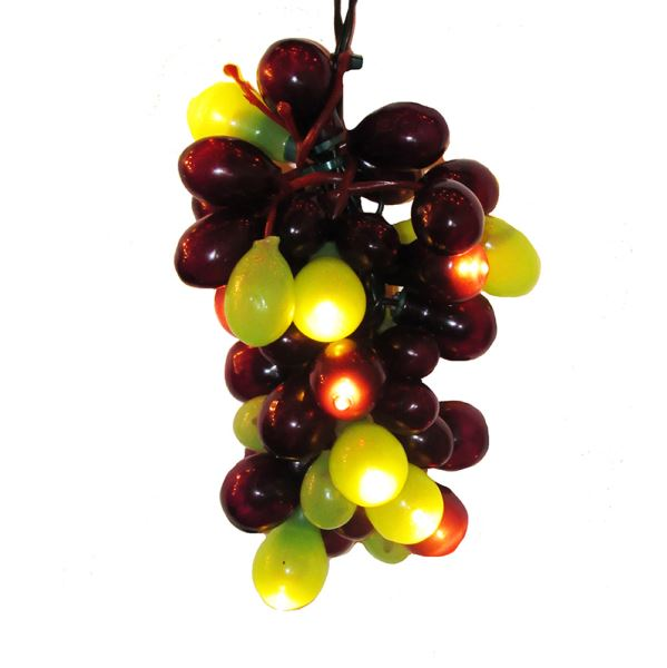 "Electric Light Set - Warm White LED - ""Green & Burgundy Grape Clusters"""