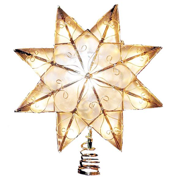 "Electric Tree Topper - ""Capiz Star - Gold Arabesque"" - 9in"