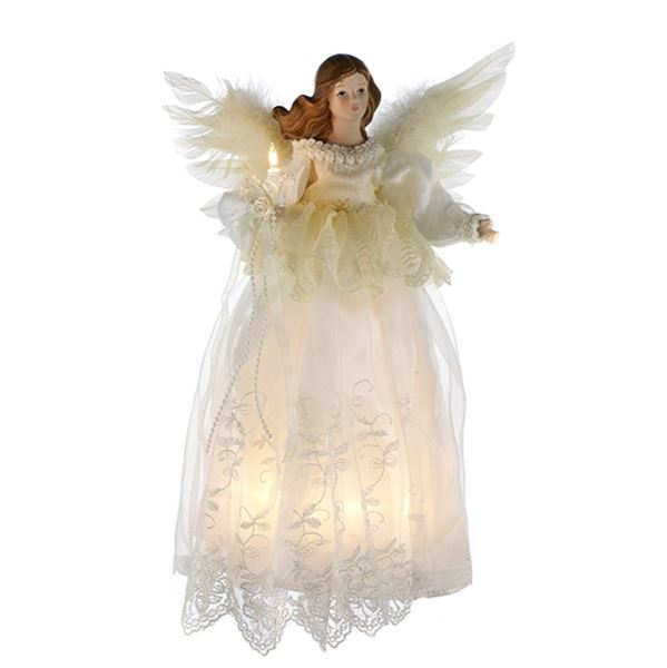 "Electric Tree Topper  - ""Ivory Angel"" - 14.5in"