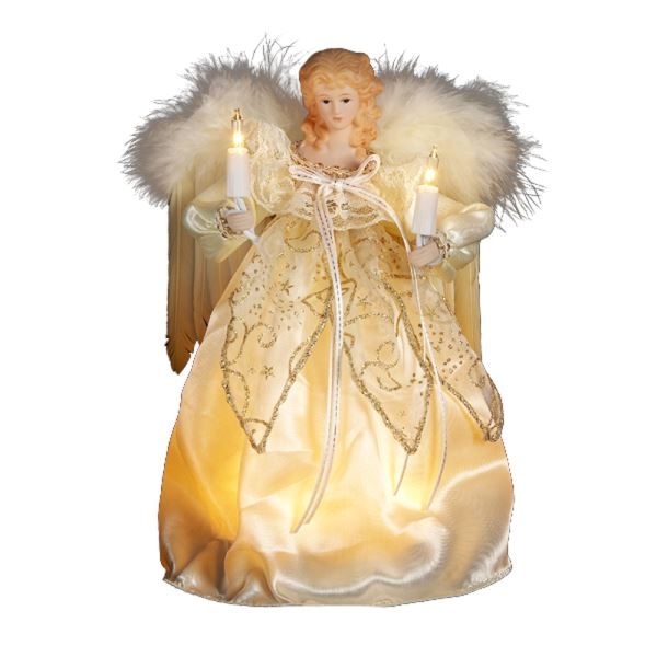 "Electric Tree Topper - ""Ivory & Gold Angel"" - 9in"