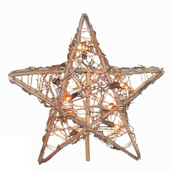 "Electric Tree Topper - ""Rattan Star"" - 10in"