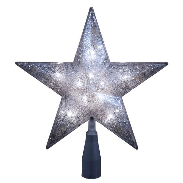"Electric Tree Topper - ""Silver Glitter Star"" - 10in"
