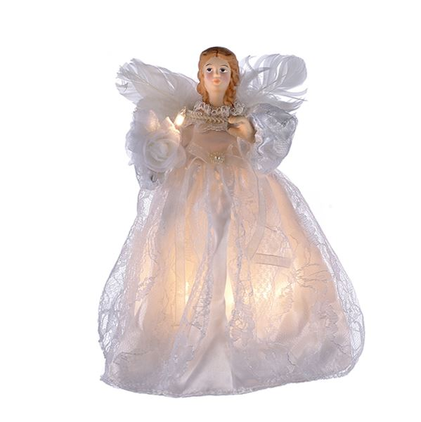 "Electric Tree Topper - ""White Dress Angel"" - 9in"
