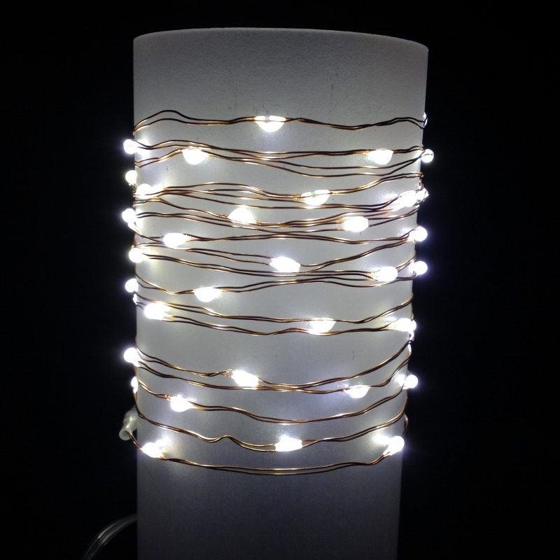 Everlasting Glow Wire String Lights - Warm White LED - Battery/Copper Wire - Commercial Grade Indoor/Outdoor - Set of 60