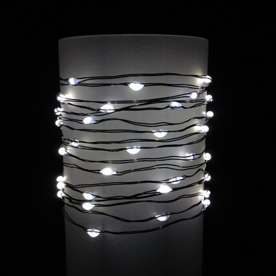Everlasting Glow Wire String Lights - Warm White LED - Battery/Green Wire - Commercial Grade Indoor/Outdoor - Set of 60