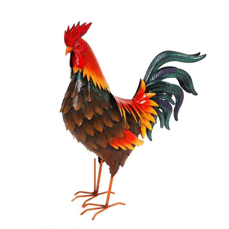 "Farmhouse Home Decor - ""Colorful Standing Rooster Figurine"" - 19 Inch"
