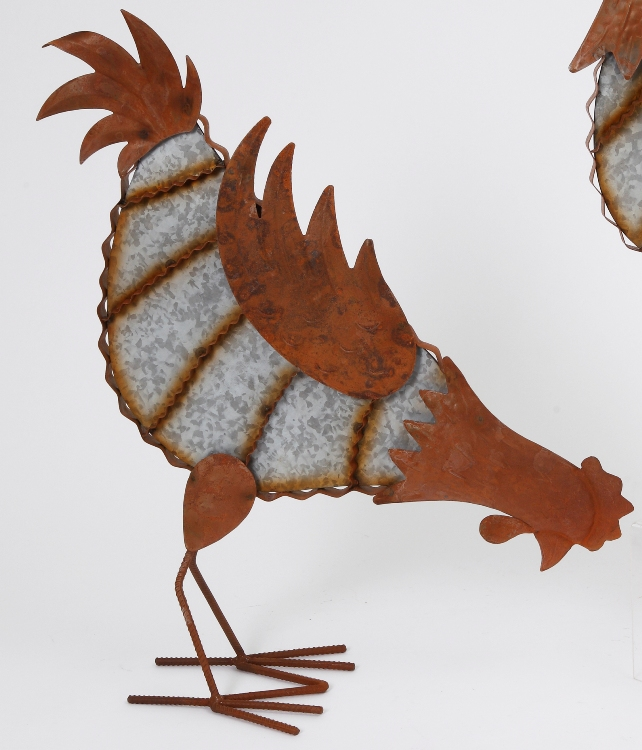 "Farmhouse Home Decor - ""Rustic Rooster with Head Down Figurine"" - 21 Inch"