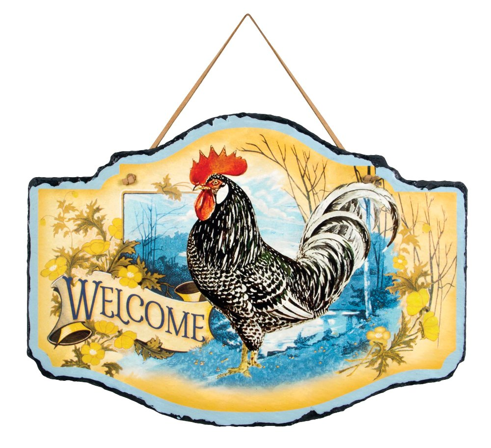 "Farmhouse Wall Decor - ""Spring Welcome Rooster Slate"""