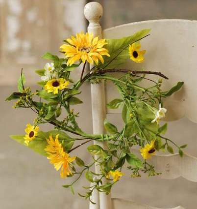 Floral Candle Ring - Sunflower - 4.5 Inch