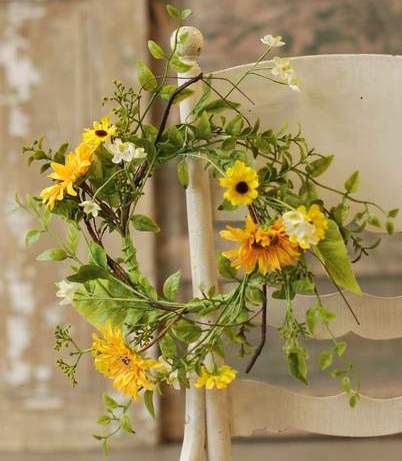 Floral Candle Ring - Sunflower - 6.5in