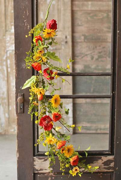 Floral Garland - Sunflower Poppy Garland - 4 Foot