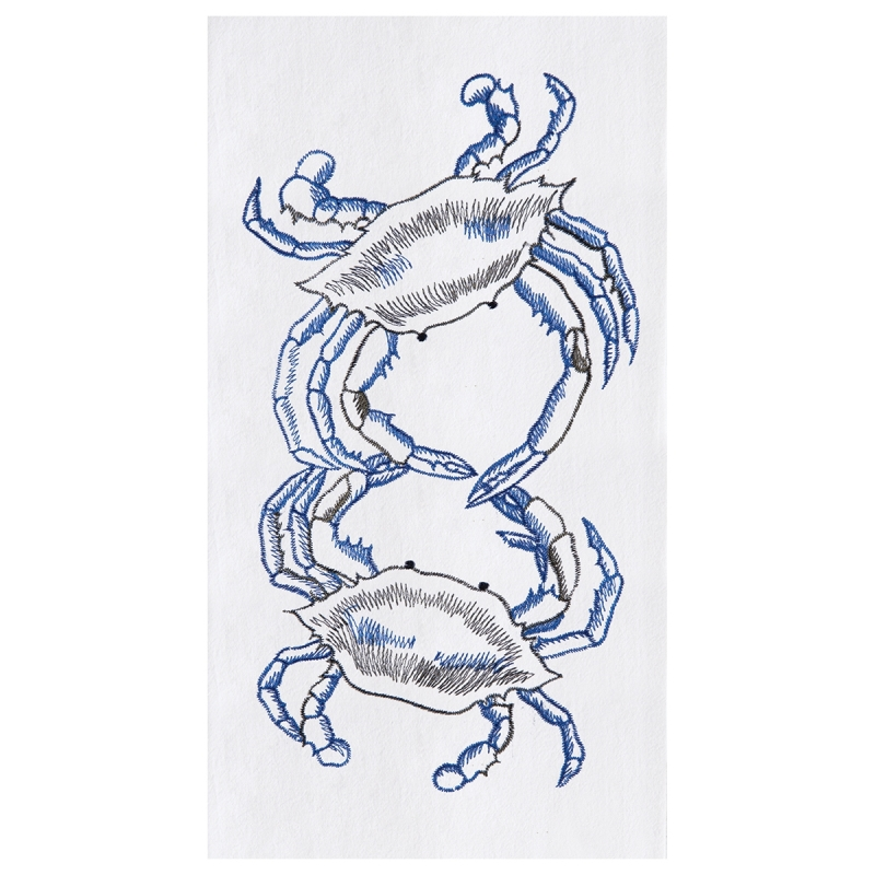 Flour Sack Kitchen Towel - Blue Crabs - 27in