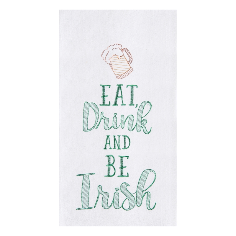 Flour Sack Kitchen Towel - Eat Drink And Be Irish - 27in