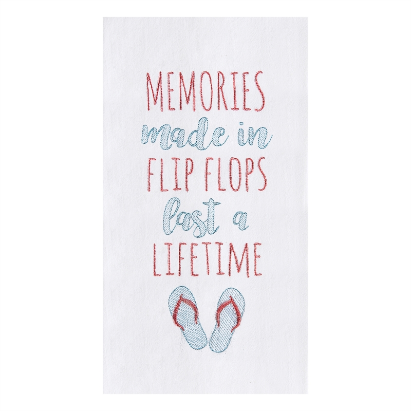 Flour Sack Kitchen Towel - Memories Made In Flip Flop - 27in