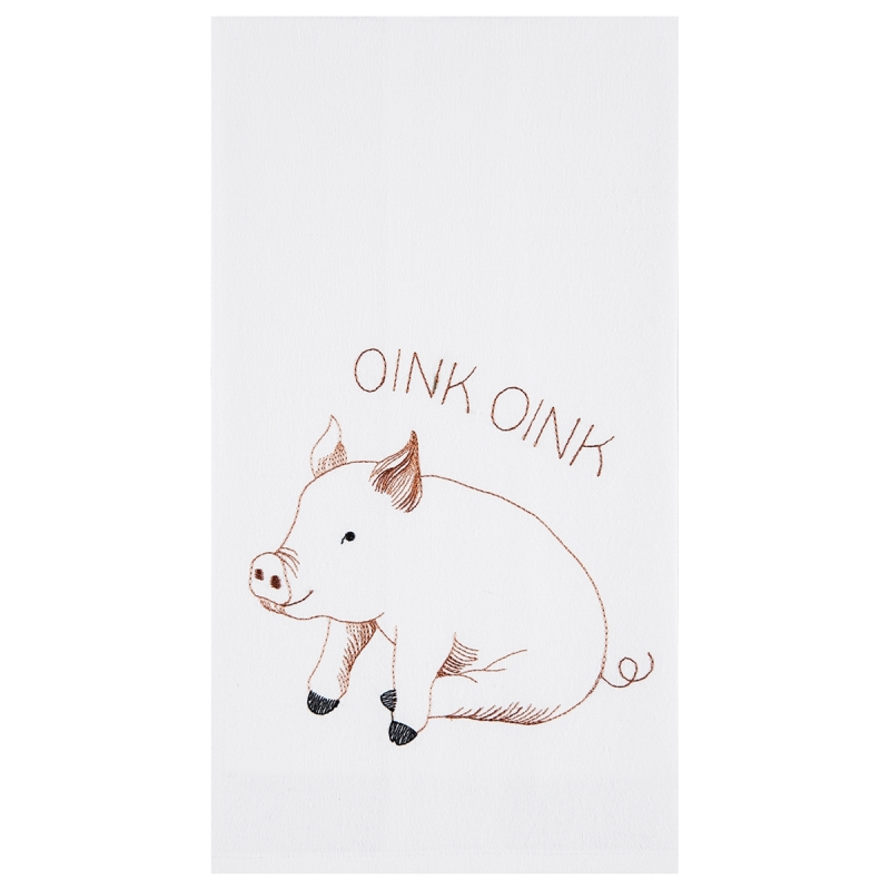 Flour Sack Kitchen Towel - Oink Oink - 27in