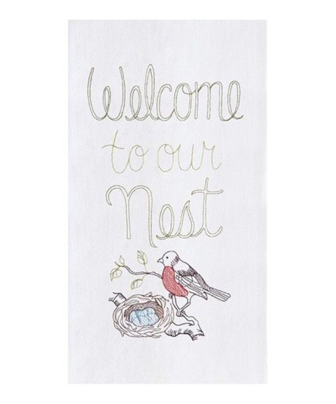 Flour Sack Kitchen Towel - Welcome To Nest - 27in