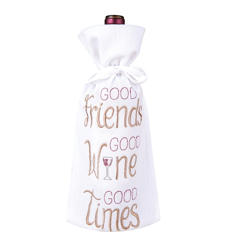 Flour Sack Wine Bag - Good Wine - 13.25in