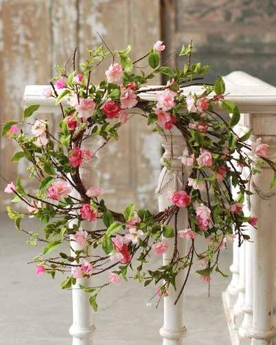"Flower Wreath - ""Cherry Blossom Wreath"" - 28 Inch"