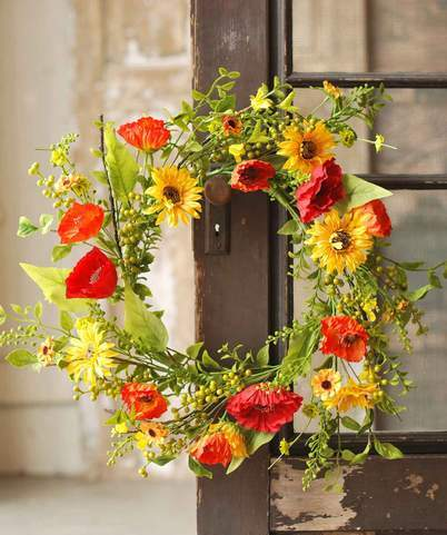 Sunflower Poppy Wreath - 22 Inch