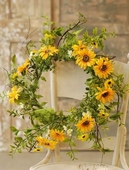 "Flower Wreath - ""Sunflower Wreath"" - 22 Inch"