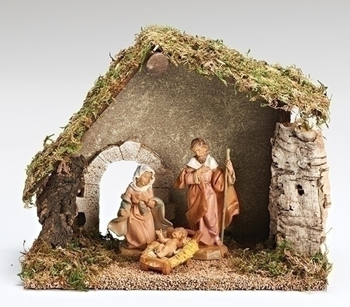 Fontanini Nativity - 5in Collection - Three Piece Starter Set with Stable