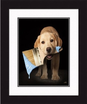"Framed Picture - ""Blue - Yellow Lab"" - 16in x 20in - Artist Ron Schmidt"