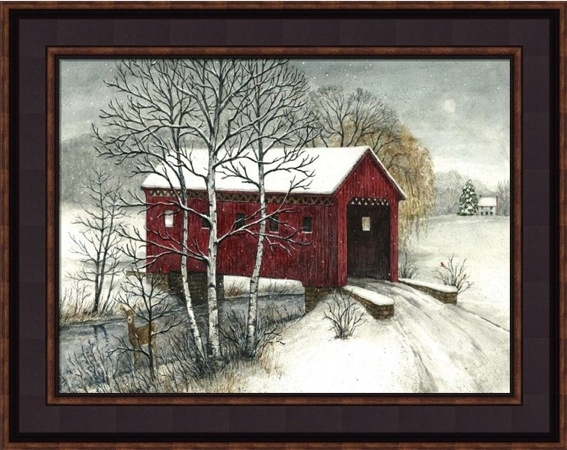 "Framed Print - ""Covered Bridge"" -12in x 16in - Artist Bonnie Fisher"