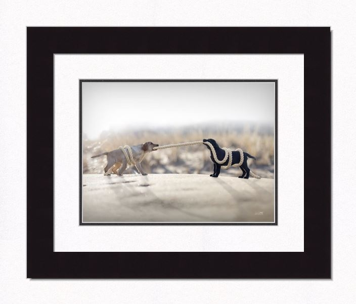 "Framed Picture - ""Give and Take - Yellow & Black Lab"" - 20in x 16in - Artist Ron Schmidt"