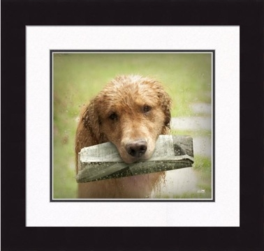 "Framed Picture - ""Loyal - Golden Retriever"" - 16in x 17in - Artist Ron Schmidt"