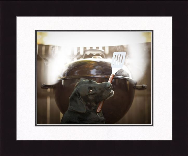 "Framed Picture - ""Smokey - Black Lab"" - 16in x 20in - Artist Ron Schmidt"