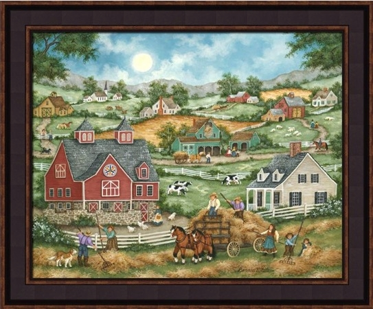 "Framed Print - ""Bringing the Hay"" - 16in x 20in - Artist Bonnie White"
