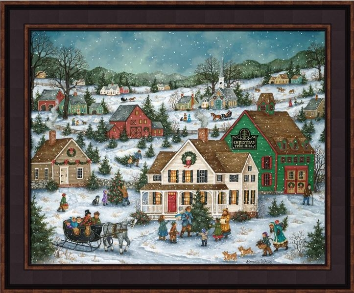 "Framed Print - ""Christmas Tree Hill"" - 16in x 20in - Artist Bonnie White"