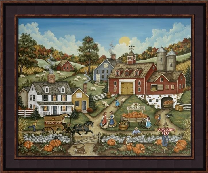 "Framed Print - ""Picking Pumpkins"" - 16in x 20in - Artist Bonnie White"