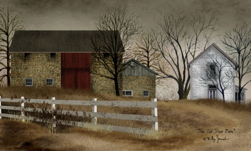 "Framed Print  - ""The Old Stone Barn"" - 26in x 20in - Artist Billy Jacobs"