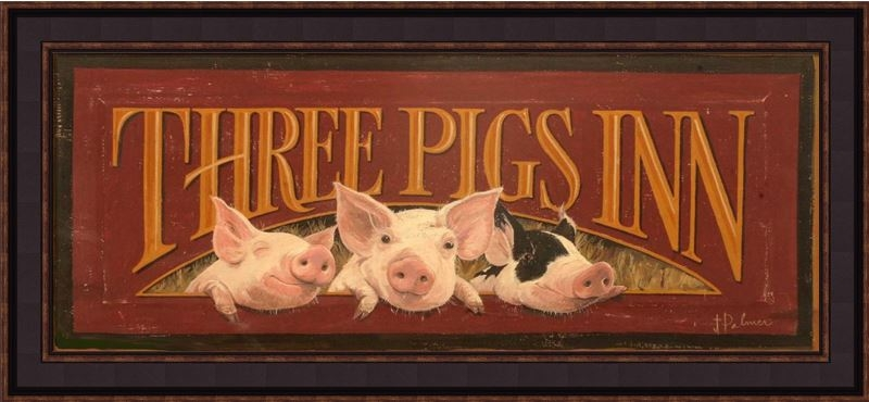 "Framed Print - ""Three Pigs Inn"" - 30in x 12in - Artist Terri Palmer"
