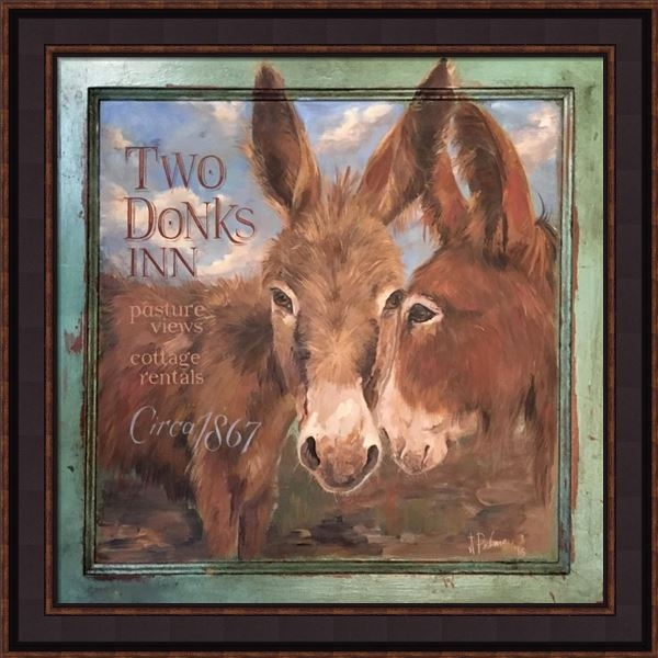 "Framed Print - ""Two Donks Inn - Donkeys"" - 20in x 20in - Artist Terri Palmer"