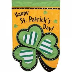 "Garden Flag - ""St. Patricks Day Clover Garden Flag"""