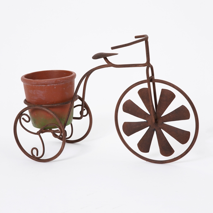 "Garden Planter - ""Metal Tricycle with Spinning Wheel Planter"" - 14 Inch"