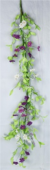 "Garland - ""Purple & Cream Violet Garland"" - 4ft"