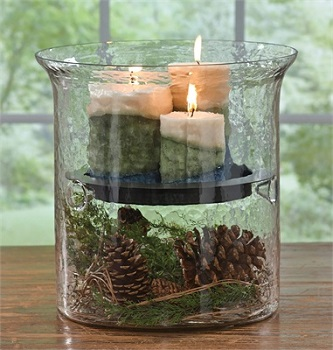 Hammered Glass Candle Cylinder With Metal Pan - 12.5 Inch