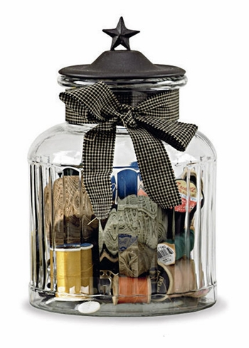 "Glass Jar with Black Star Lid - Large - 9"" High"