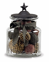 "Glass Jar with Black Star Lid - Medium - 7""High"