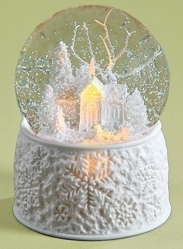 Christmas Snow Globe - White Church - LED