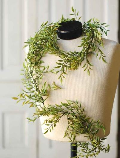Green Leaf Garland - Green Smilax Leaf Garland - 6 Foot