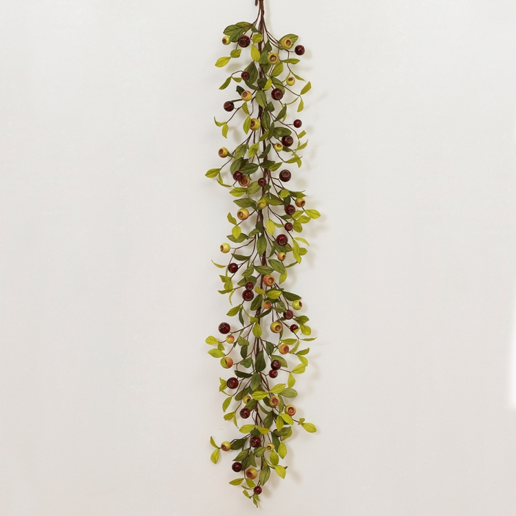 "Green Leaf Garland - ""Natural Twig with Red and Green Berry Garland"""